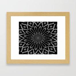 Shooting Star Black and White Kaleidoscope Framed Art Print