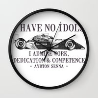 senna Wall Clocks featuring I Have No Idols - Senna Quote by One Curious Chip