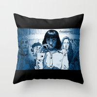mia wallace Throw Pillows featuring Pulp Fiction - Mia Wallace by Rob O'Connor