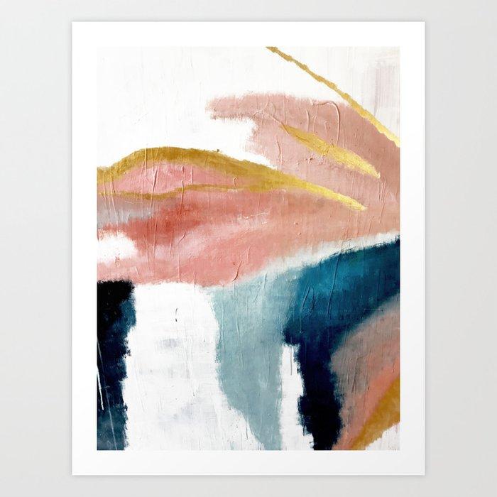 Exhale: a pretty, minimal, acrylic piece in pinks, blues, and gold Kunstdrucke