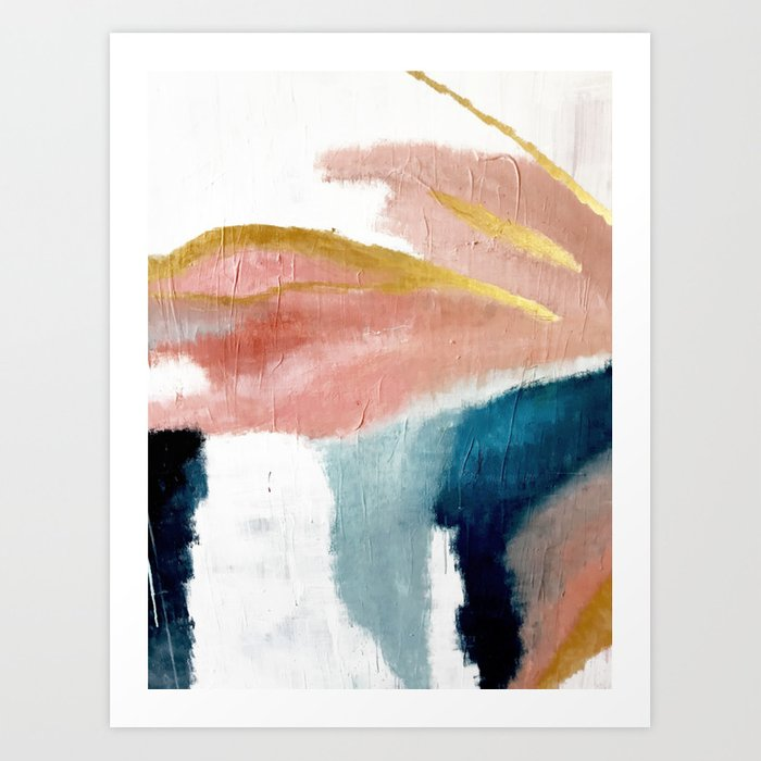Exhale: a pretty, minimal, acrylic piece in pinks, blues, and gold Kunstdrucke