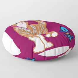 Kitty Alexander with Fleur de Lis Floor Pillow