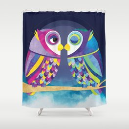 Shanti Sparrow: Bill & Judy the Owls Shower Curtain