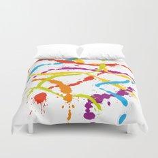 Splattered Rainbow [WHITE] Duvet Cover