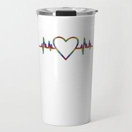 LGBT Heartbeat Lesbian Gay Gender Equality Bisexual Transgender Gift Travel Mug