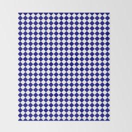 White and Navy Blue Diamonds Throw Blanket