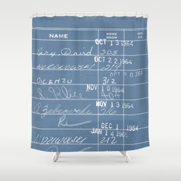 Library Card 23322 Negative Blue Shower Curtain
