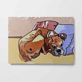 Abby Rests Boxer Dog Portrait Metal Print