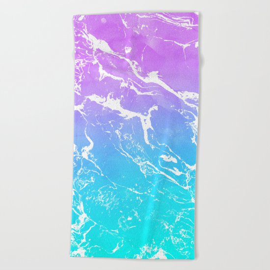 Modern summer purple blue ombre watercolor mermaid white marble Beach Towel