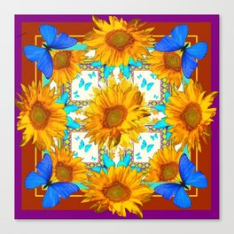Cerulean & Yellow Sunflowers Purple-Brown Art Blue Butterflies Canvas Print