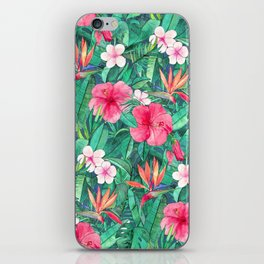Classic Tropical Garden with Pink Flowers iPhone Skin