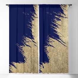 Navy blue abstract faux gold brushstrokes Blackout Curtain