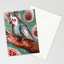 cockatiel and papayas Stationery Cards