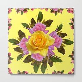 LEMON  YELLOW & PINK ROSES ART Metal Print