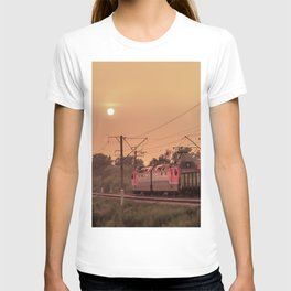 Mist sunset and a train T-shirt