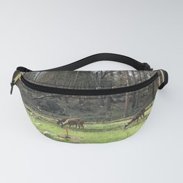 Deer Grazing Peacefully in a Green Woodland Glade Fanny Pack