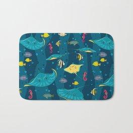 Decorative seamless pattern with sea fish on blue background. Bath Mat