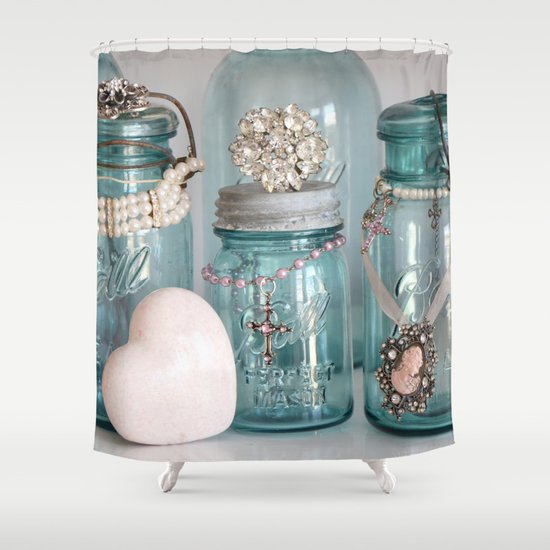 Vintage Mason Jars Shabby Chic Cottage Jeweled Decor Shower Curtain By Kathyfornal
