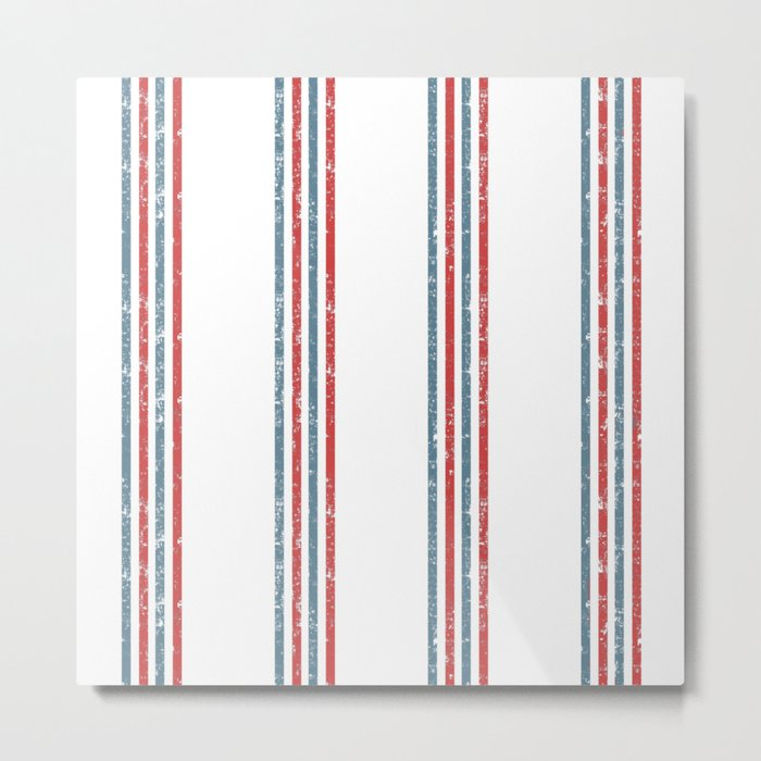 Maritime Beach Pattern- Red and Blue Stripes on White- Vertical #Society6 Metal Print