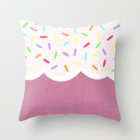sprinkles Throw Pillows featuring Sprinkles by Glanoramay