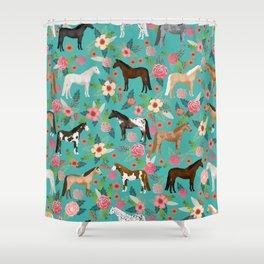Horses floral horse breeds farm animal pets Shower Curtain