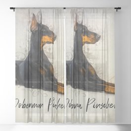 Doberman Pinscher Sheer Curtain