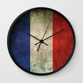 Old and Worn Distressed Vintage Flag of France Wall Clock