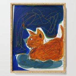 Socca Ginger Cat Art Serving Tray