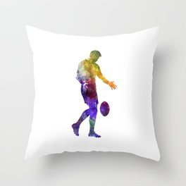 Rugby man player 02 in watercolor Throw Pillow