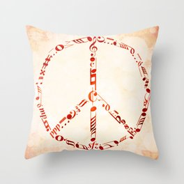Watercolor music peace Throw Pillow