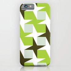 Green & brown stars & squares pattern iPhone 6s Slim Case