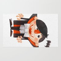 dracula Area & Throw Rugs featuring Dracula kid by Lime