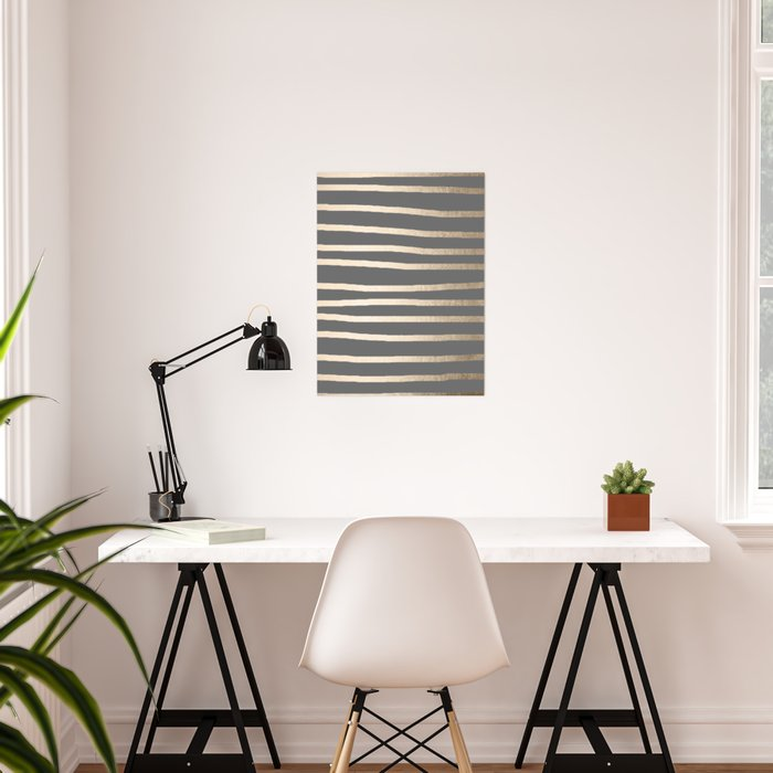 Simply Drawn Stripes White Gold Sands on Storm Gray Poster