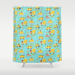Constructon Trucks on Aqua Blu Shower Curtain