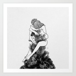 I find peace in your hug. Art Print