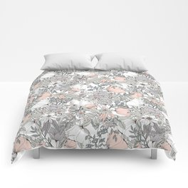 Seamless pattern design with hand drawn flowers and floral elements Comforters