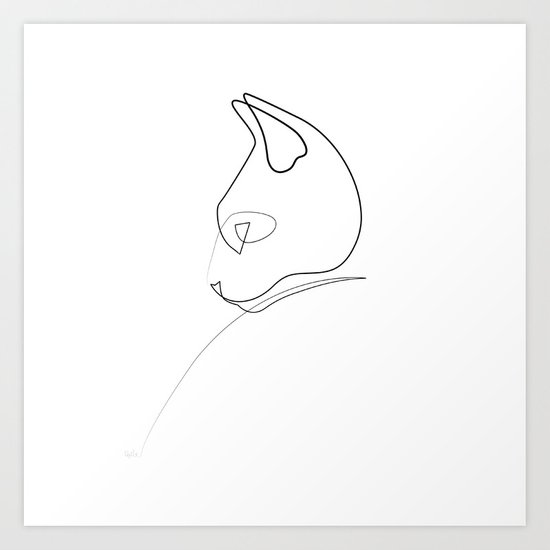 Continuous Line Drawing Quibe : Oneline cat art print by quibe society