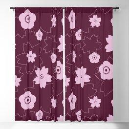 Sakura blossom - burgundy Blackout Curtain