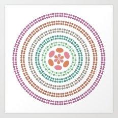 Retro floral circle 2 Art Print