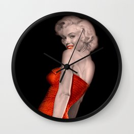 Marilyn: Vintage Rare Print in a Red Bathing Suit Wall Clock