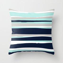 Ocean, Stripe Abstract Pattern, Navy, Aqua, Gray Throw Pillow