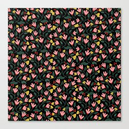 Pink Floral Pattern on Black Canvas Print