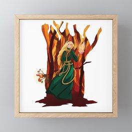 Fire sorceress Framed Mini Art Print