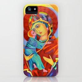 Virgin Mary Painting Madonna and Child Jesus icon Modern Catholic Religious iPhone Case