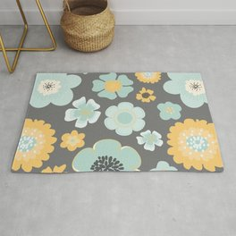 Modern Pretty Floral in Aqua and Gold No. 3 Rug