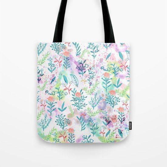 Hand drawn coral pink green watercolor floral Tote Bag