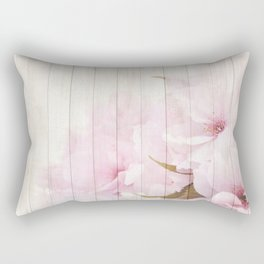 Romantic Vintage Shabby Chic Floral Wood Pink Rectangular Pillow