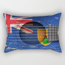 Old Vintage Acoustic Guitar with Turks and Caicos Flag Rectangular Pillow