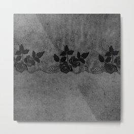 Pure elegance- Black floral luxury lace on dark grunge backround Metal Print