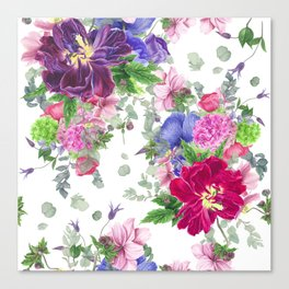Floral print with tulips and anemones Canvas Print
